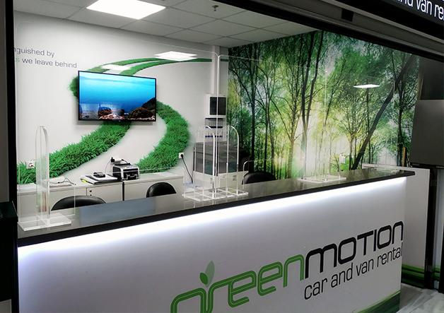 front office plexiglass stand